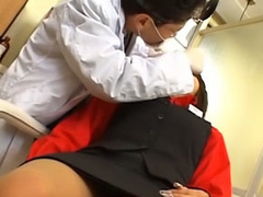 Lovely young oriental gets more than her knees to suck a thick dick
