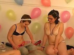 Gorgeous cute girls have a hot amateur facetious party