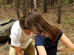 Gorgeous teenie getting screwed hard by lucky man outdoors