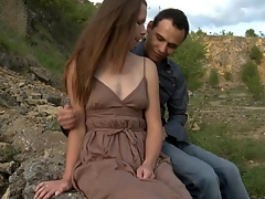 Legal Age Teenager whore copulates with her partner outdoors on a massive stone