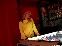 Horny golden-haired cums from the non-stop fucking action in the bar