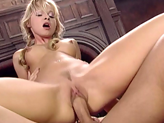 Little blond cutie is ridding and sucking a stud