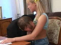 Sweet darling opens her snatch be beneficial to teacher's hard drilling